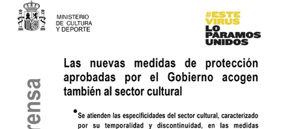 Las nuevas medidas de protección aprobadas por el Gobierno acogen también al sector cultural